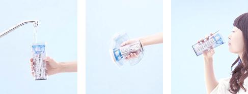 振るだけで水をきれいに。《クリンスイ タンブラー》使用イメージ
