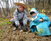 D-PARCの第一期植樹祭で植樹する宮脇氏(左)と参加者