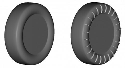 ノーマルタイヤ(左)とフィンタイヤのイメージ