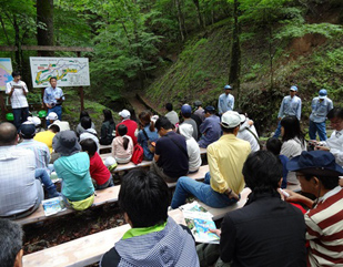 森林学習で真剣に学ぶ参加者