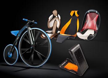 初公開する自動車シートコンペティションの試作品およびコンセプト自転車
