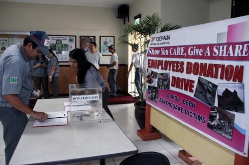 YTPI従業員が実施した募金活動の様子