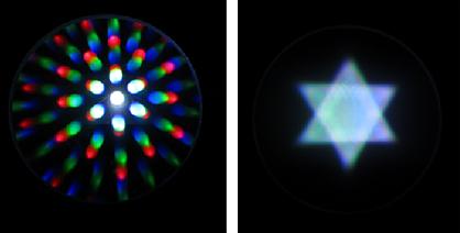 賦形フィルムによるLED点光源の拡散模様イメージ(左)円柱 (右)三角錐