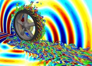 受賞したシミュレーション技術で捉えた回転するタイヤ周りの空気の渦流れ構造と音響波