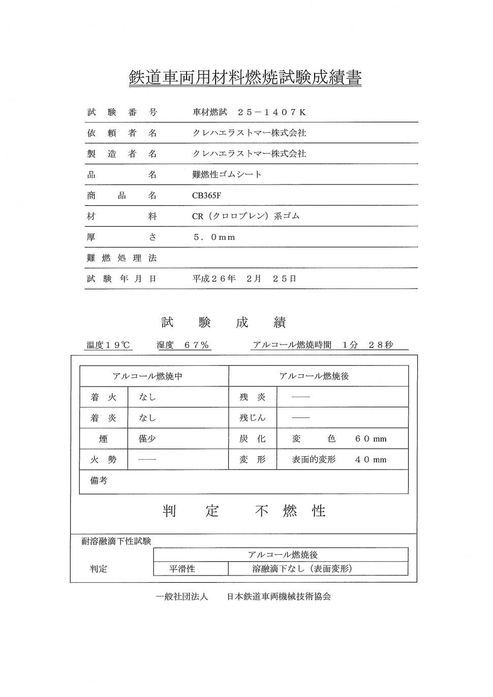 鉄道車両用材料燃焼試験成績書