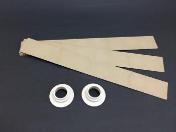 紙と樹脂素材を複合したプラスチック成型品のサンプル
