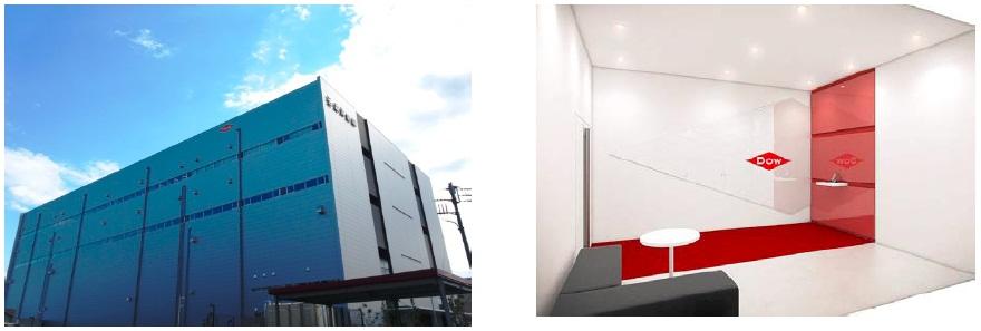 ダウ日本開発センターが設けられた澁澤ABCビルディング1号館および受付イメージ図
