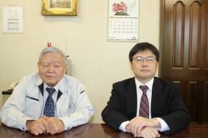 矢田会長(左)と矢田新社長(右)