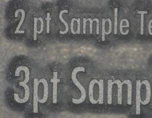 キンヨーフレックス 2ポイントサイズの文字を鮮明にゴム版に再現可能