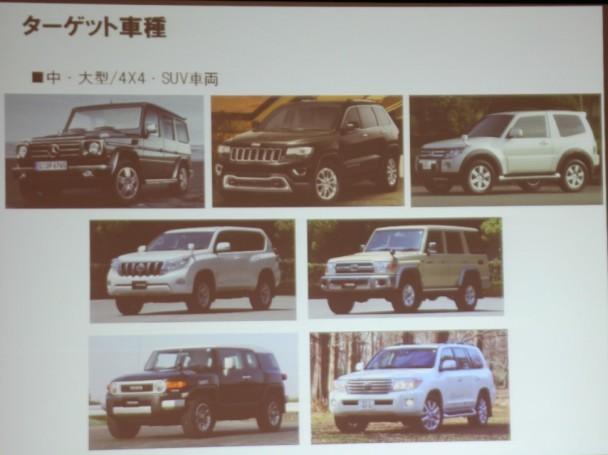ランドクルーザープラド、FJクルーザーをターゲット車種に想定。