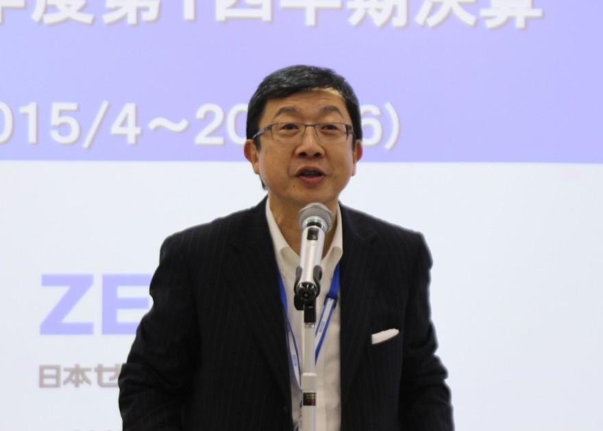 決算説明する古谷岳夫取締役執行役員