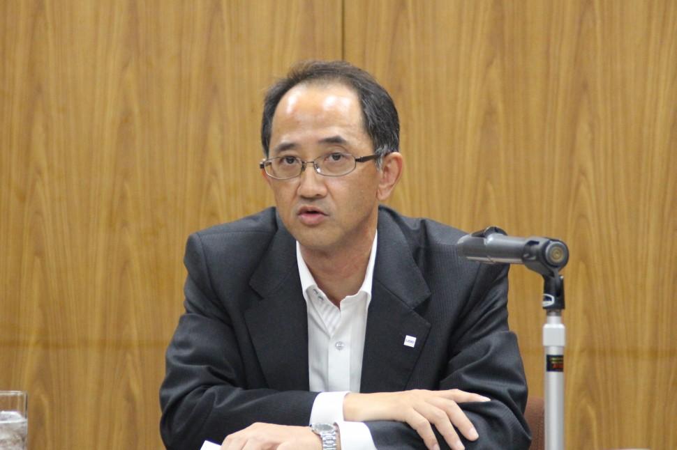 第1四半期概要を説明する藤井執行役員グループCFO
