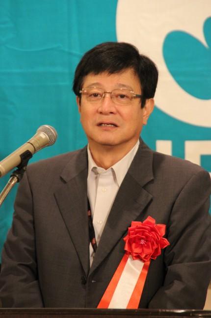 来賓代表としてあいさつしたインダストリオール・JAFの島田尚信議長