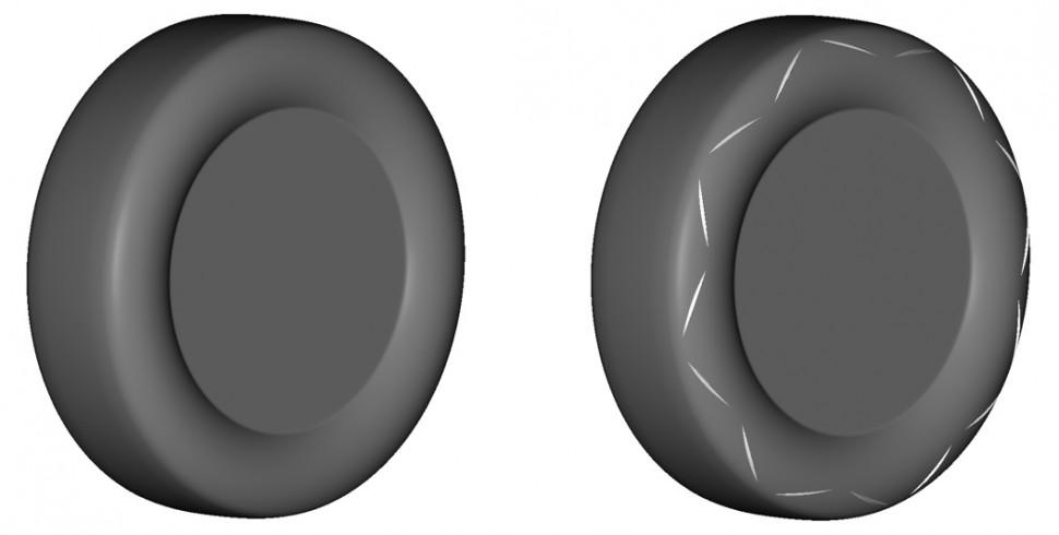 ノーマルタイヤ(左)と新形状エアロダイナミクスタイヤ(右)のイメージ