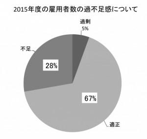 2015年度の雇用者数の過不足感について