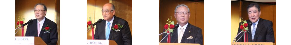 左から西山会長、佐藤社長、ニッタ㈱の新田社長、西川ゴム工業㈱の西川社長