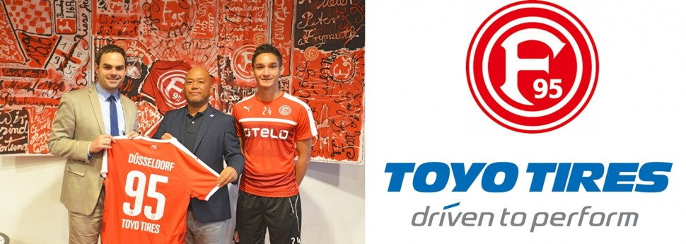 左:ロベルト・シェーファー、フォルトゥナ・デュッセルドルフCEO、中央:栗林健太TTE社長、右:金城ジャスティン俊樹選手