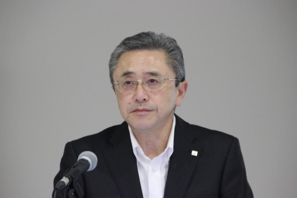 決算概要を発表する江藤彰洋執行役副社長