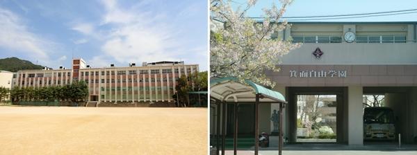 出前実験教室」実施予定校 左:育英高等学校(兵庫県)、右:箕面自由学園高等学校(大阪府)