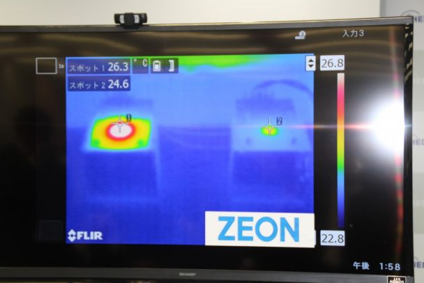 同日行われた会見では、新規シート系TIMとグリース系TIMの性能比較デモンストレーションが行われた。新開発品は優れた熱抵抗値を示した。