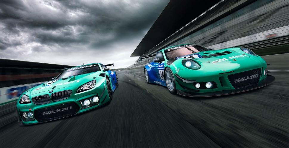 FALKEN Motorsports「BMW M6 GT3」(左)「Porsche 911 GT3R」(右)
