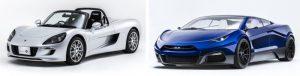 GLMが量産を実現したEVスポーツカー「Tommykaira ZZ」(左)とコンセプトカー「GLM G4」(右)