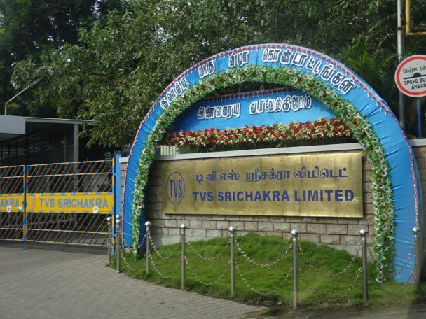 インドで二輪車用タイヤメーカーの最大手のTVS社入り口