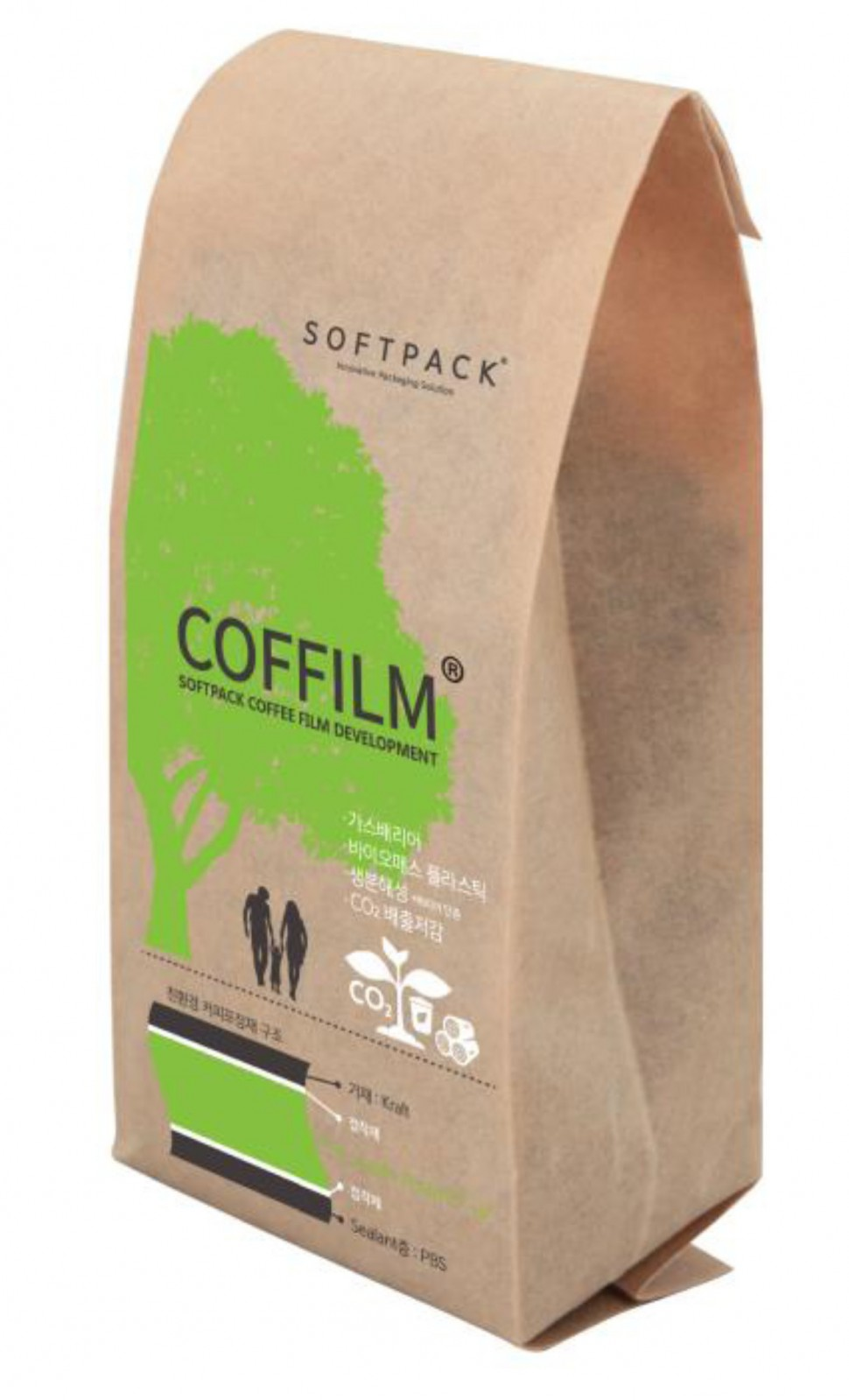 プランティックを使用したコーヒー豆パッケージ