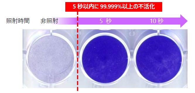 深紫外線の照射による新型コロナウイルス不活化の様子