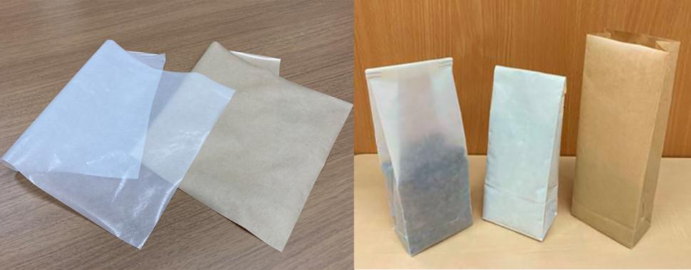 「プランティック」紙コート用樹脂グレードを用いた紙製包装材