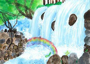 「滝と虹」