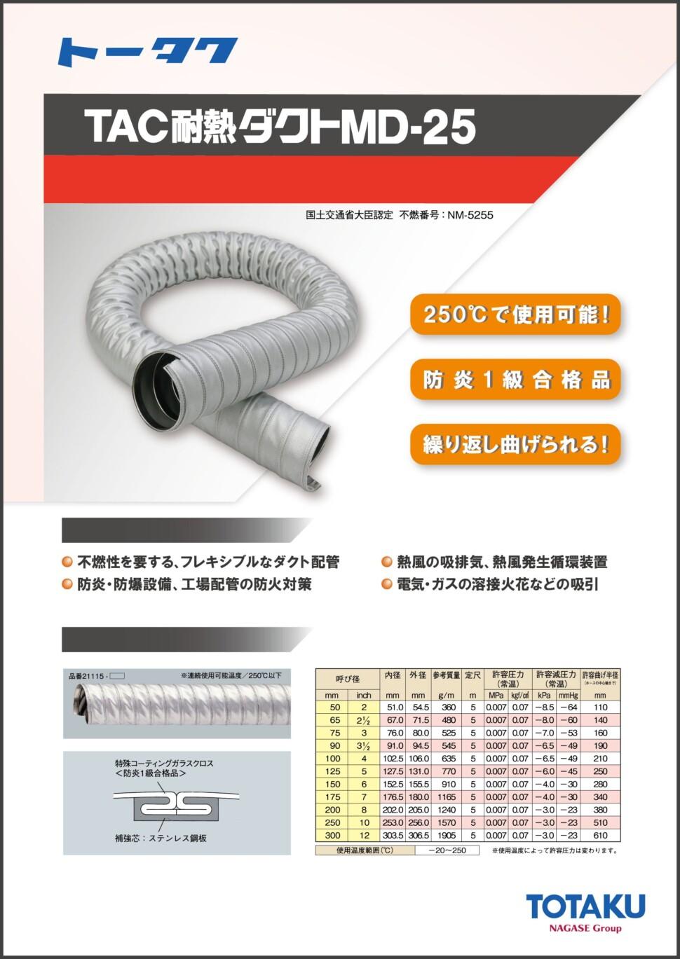 TAC耐熱ダクトMD-25